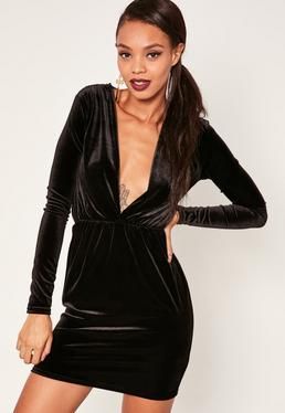 long-sleeve-plunge-ruched-waist-velvet-dress-black