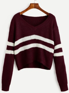 http://fr.shein.com/Burgundy-Striped-V-Neck-Crop-Sweater-p-322671-cat-1734.html