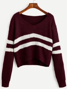 http://fr.shein.com/Burgundy-Striped-V-Neck-Crop-Sweater-p-322671-cat-1734.html