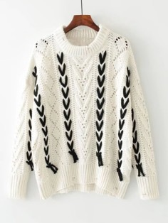 http://fr.shein.com/Contrast-Lace-Up-Hollow-Out-Ripped-Sweater-p-385673-cat-1734.html